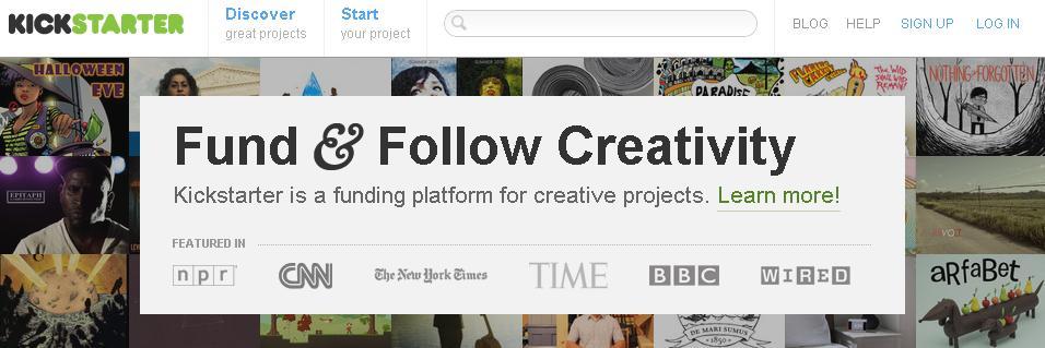 クリエイティブプロジェクトに寄付金を集めるサイト:Kickstarter(キックスターター)